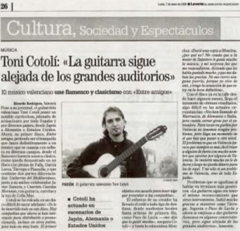 Recorte Las Provincias: La guitarra sigue alejada de los grandes auditorios