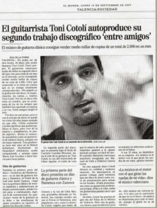 """Recorte El Mundo: El guitarrista Toni Cotolí autoproduce su segundo trabajo discográfico """"Entre amigos"""""""