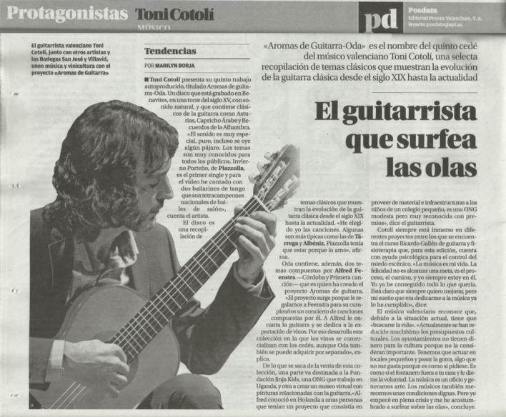 Recorte Posdata (Levante): El guitarrista que surfea las olas