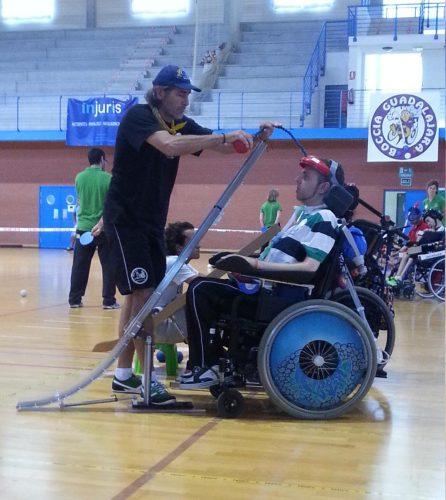 Iván participando junto a su entrenador Miguel Ángel López Vidal en el Campeonato Nacional de Boccia en 2014 en Benidorm / Foto: Alejandro Piquero Serrano