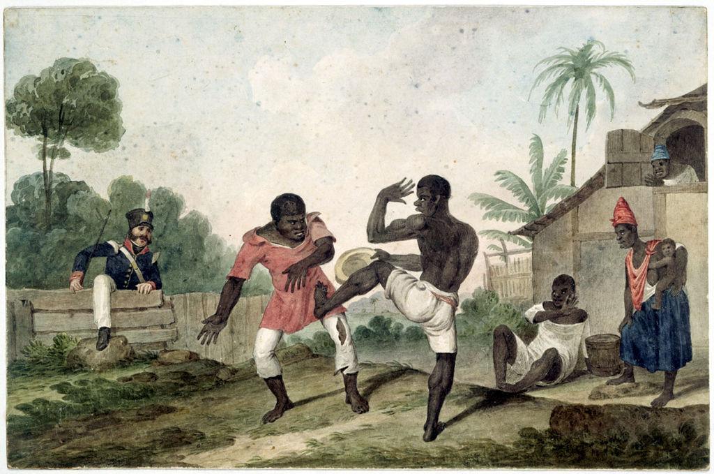 Ilustración: Capoeira en Río de Janeiro en 1824 obra de Augustus Earle