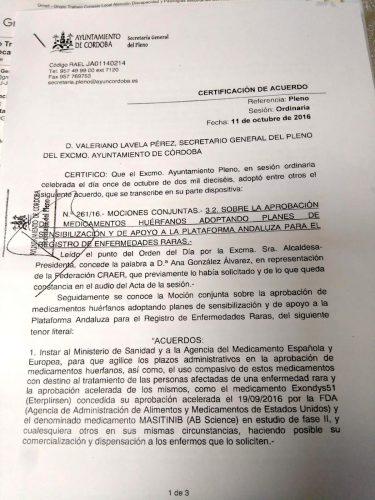 Certificación de Acuerdo por el Ayuntamiento de Córdoba pagina 1